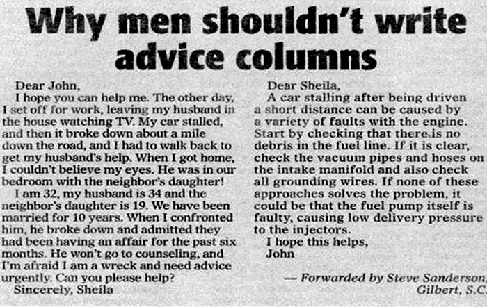 Advice columns on relationships