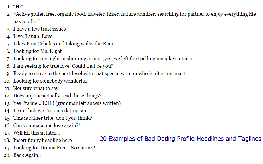 catchy online dating profiles examples These 10 top online dating profile examples will help most guys get terrible results online one reason is because their profile reads like a boring, dating profile shaped turd.